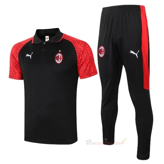 Destockage Maillot De Foot PUMA Ensemble Complet Polo AC Milan 2020 2021 Noir Rouge