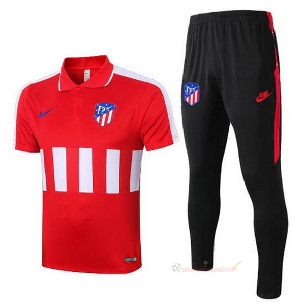 Destockage Maillot De Foot Nike Ensemble Complet Polo Atlético de Madrid 2020 2021 Rouge Noir