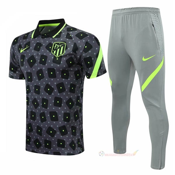 Destockage Maillot De Foot Nike Ensemble Complet Polo Atlético Madrid 2020 2021 Noir Gris