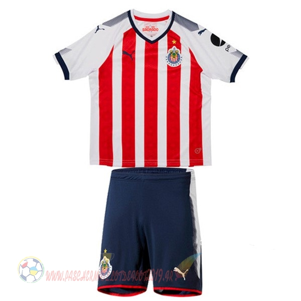 Destockage Maillot De Foot PUMA Domicile Ensemble Enfant CD Guadalajara 2017 2018 Blanc Rouge