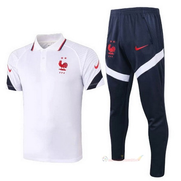 Destockage Maillot De Foot Nike Ensemble Complet Polo France 2020 Blanc Bleu