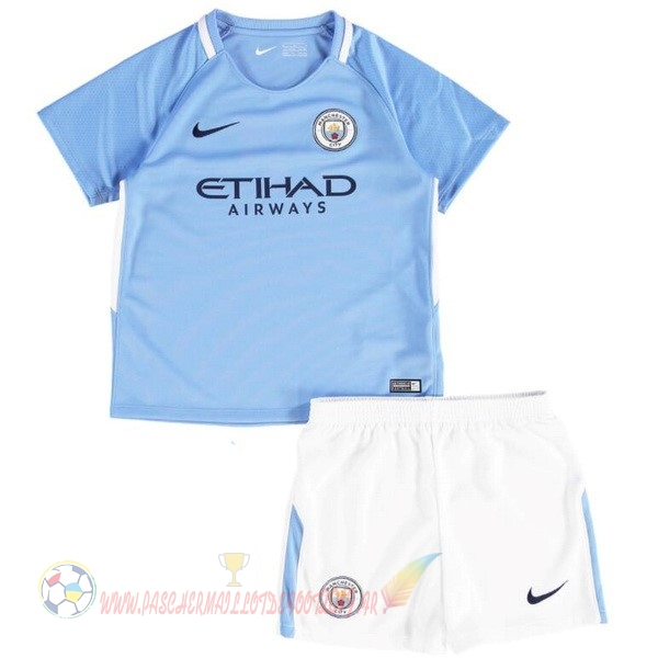 Destockage Maillot De Foot Nike Domicile Ensemble Enfant Manchester City 2017 2018 Bleu Blanc