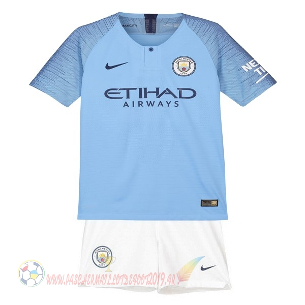 Destockage Maillot De Foot Nike Domicile Ensemble Enfant Manchester City 2018 2019 Bleu Blanc
