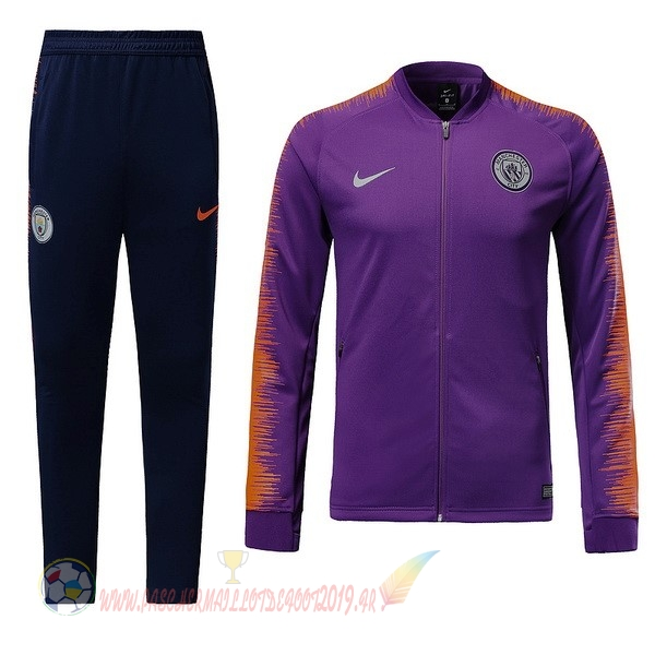Destockage Maillot De Foot Nike Survêtements Enfant Manchester City 18-19 Purpura