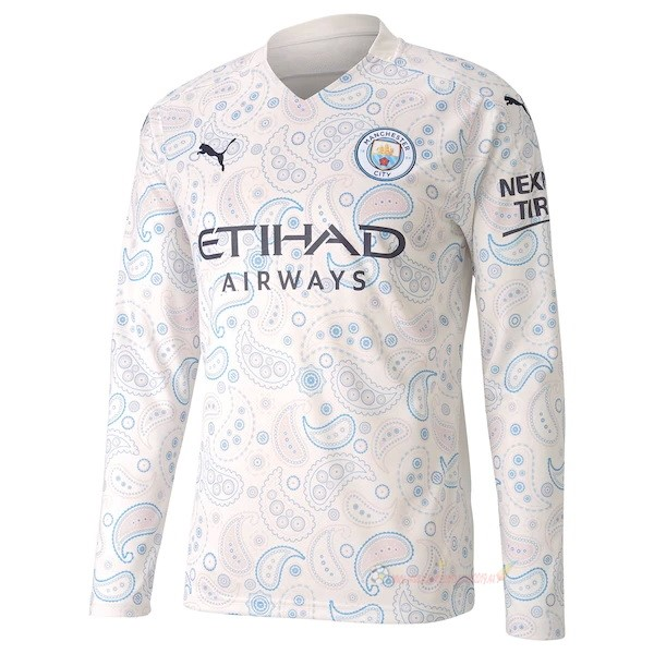 Destockage Maillot De Foot PUMA Third Manches Longues Manchester City 2020 2021 Blanc