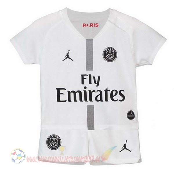 Destockage Maillot De Foot JORDAN Third Exterieur Ensemble Enfant Paris Saint Germain 2018-2019 Blanc