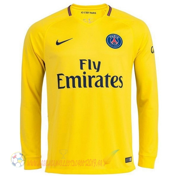 Destockage Maillot De Foot Nike Exterieur Manches Longues Paris Saint Germain 2017 2018 Jaune