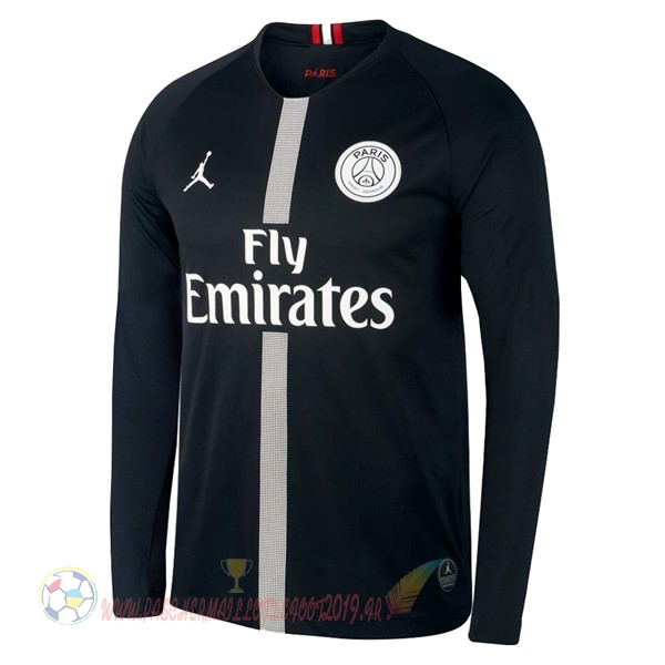 Destockage Maillot De Foot JORDAN Third Domicile Manches Longues Paris Saint Germain 18-19 Noir