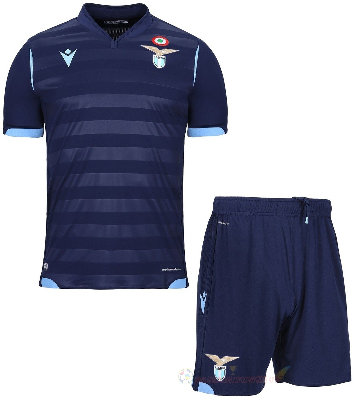 Destockage Maillot De Foot Macron Third Ensemble Enfant Lazio 2019 2020 Bleu Marine