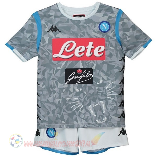 Destockage Maillot De Foot Kappa Third Ensemble Enfant Naples 2018-2019 Gris
