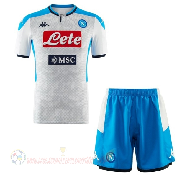 Destockage Maillot De Foot Kappa Third Ensemble Enfant Naples 2019 2020 Blanc Bleu