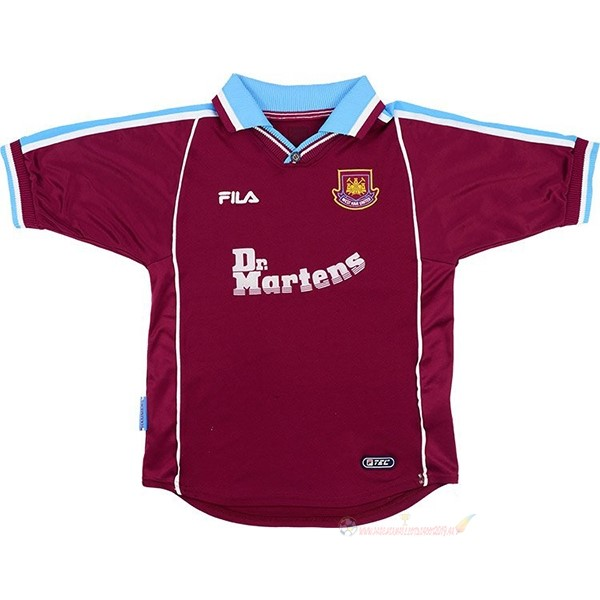 Destockage Maillot De Foot FILA Domicile Maillot West Ham United Rétro 1999 2000 Rouge